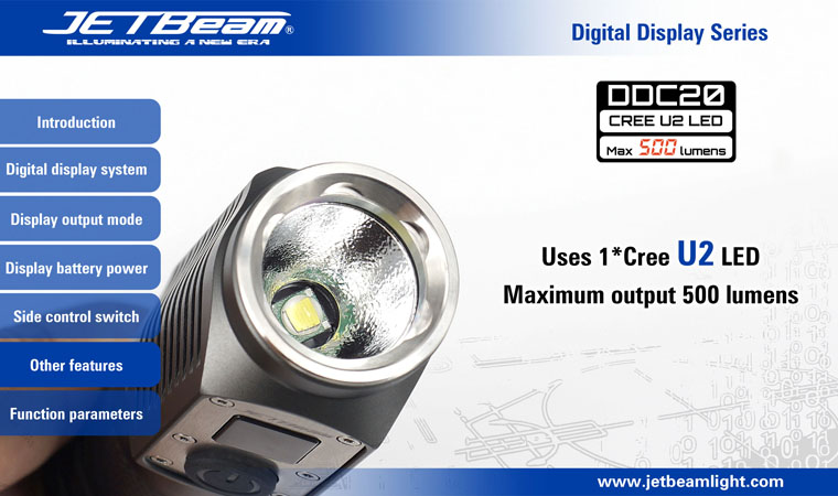 JETBeam DDC20 CREE XM-L U2 500 LM 4 Mode Digital Display LED Flashlight - Grey (2xCR123/1x18650).